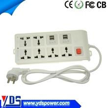 china alibaba 4 USB 10-25a eletric plug socket with 6 outlets