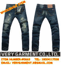 los hombres rotos dañados pantalones vaqueros pantalones vaqueros agujeros recta tubo de dril de algodón pantalones vaqueros