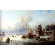 Handmade famous boat paintings on canvas by William Bradford, A Winter Landscape With Numerous Skaters On A Frozen Waterway