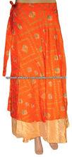 mucho mayor sari de seda falda larga indio falda envolvente