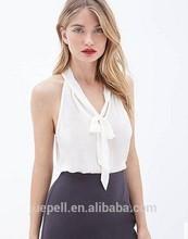 2015 moda womenchiffon oficina blusa para uniforme con sin mangas