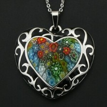 high quality colorful flower pendant stainless steel jewlery