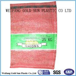 100% virgin material leno onion mesh bag with lebel