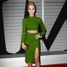 Long sleeve royal green sexy open leg side newest hollywood party dress