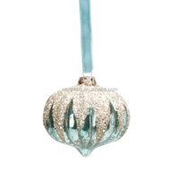 vintage silver blown glass hanging onion Christmas decoration with glass glitter from China factory