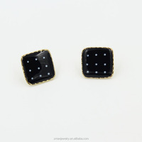 Cheap Small Black Square Fashion Stud Earrings 2015