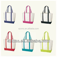Simple Blank Design Cotton Tote Boat Shopping Bags for Promotional Gift
