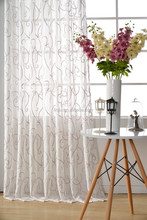 ME103 special design embroidery curtain, ready made window curtain embroidered