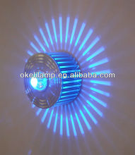 2012 Aluminum 1W High Power LED Colorful Wall Lamp,blue color patented wall lamp