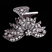 2015 New Design Fancy alloy crystal flower hair claw clip wholesale