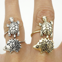 Turtle and hedgehog Wrap Ring Adjustable Animal Vintage Rings for Women