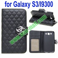 Rhombus Texture Leather Case for Samsung Galaxy S3 i9300 with a Diamond Flower and Holder