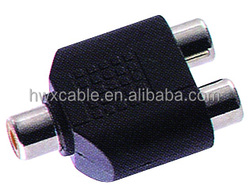 Audio system black 1 RCA male to 2RCA female connector adapter 2 to 1