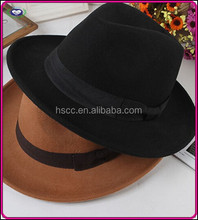 High quality black 56-58cm cheap wool fedora hats for men wholesale Autumn Winter cheap price wool felt hats for sale