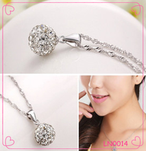 Europe and the United States silver jewelry wholesale Natural diamond crystal ball necklace