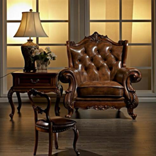 top grade quality design leather wood noble sofa chair