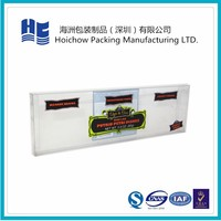 Clear plastic box with devisable printed logo for cigarette blister packaging