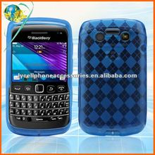 Durability skin cover For Blackberry Bold/9790 soft checker TPU cell phone case