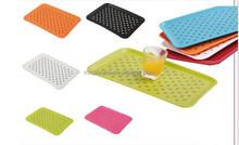 2015 new plastic rectangular double non slip serving tray