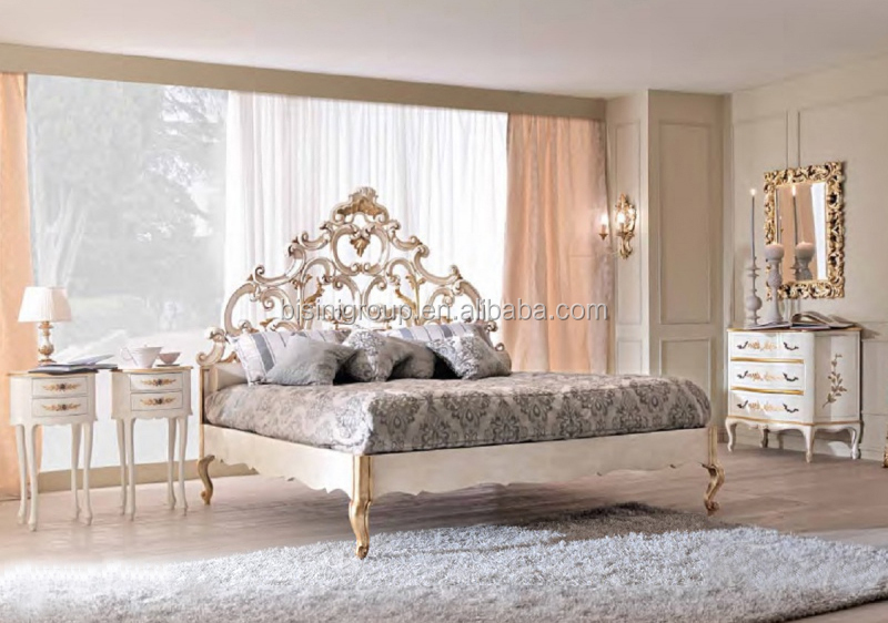 luxe royale sculpt style italien blanc et or lit bois massif de luxe couronne lit bf11 02061b. Black Bedroom Furniture Sets. Home Design Ideas