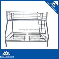 Sanli Silver Metal Triple Children Sleeper Bunk Bed Frame No Mattress Double Bed Base Single On Top