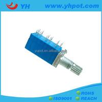 YH jiangsu 9mm 6 gang sealed volume control rotary potentiometer b203 with metal shaft