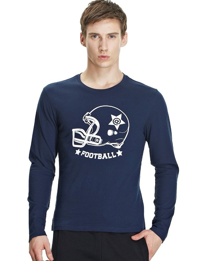 Top Quality Mens Football Flocking Printing Long Sleeve