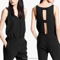 Anly wholesale fashion hot sale ladies sexy black keyhole romper jumpsuit for women