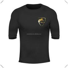 Lightweight 95% Cotton 5% Elastane Mens Performance T Shirt Custom Printed Black Gym Shirts 3/4 Raglan Sleeve Tapered Sports Tee
