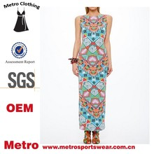 High Quality Wholesale Vintage Style Mixed Colors Printed Ladies Fancy Maxi Dress
