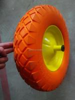 Square pattern PU foam wheel 4.00-8 with plastic hub
