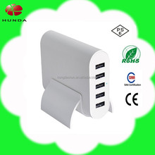 SHENZHEN HUNDA white multi port usb charger 5 port mobile phone charging station mini USB adaptor FCC TUV CB with US EU UK plug
