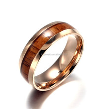 Rose Gold Wood Inlay New Tungsten Ring/Unique Wedding Ring 2015