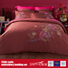 Red Cotton 250TC Satin Embroidery Bed Linen Hotel Bedding Sheets