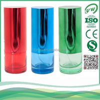 transparent red cylindrical glass perfume / edu de toilette packaging wholesale made in China