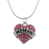 Alibaba Online Wholesale Custom Made Engravable Message Crystal Heart Shaped MEMAW Pendant Necklace
