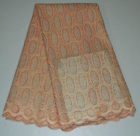 Fancy peach swiss cotton voile lace / lace fabric for sale / organic cotton lace fabric