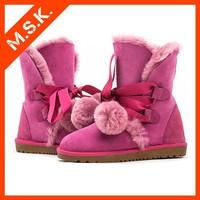 Latest design women snow boots sweet plush shoes