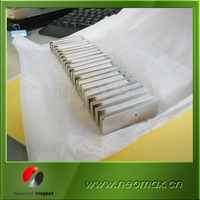 thin big block rectangle neodymium magnet with north pole marked