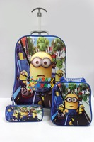 3D Children School Trolley Bag Little Kids Cartoon bags Despicable Me 2 Minion fashion child travel bag