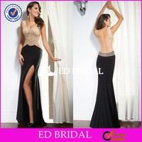 ZY007 Sexy See Through Back Side Slit Cap Sleeve Heavy Beaded Mermaid Evening Dress