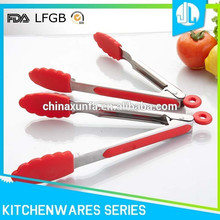 Easy handle cheap silicone steel material useful wholesale bbq grill tongs