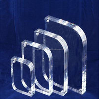 Transparent acrylic double sided photo / picture frames 5x7 glass picture frames with magnets
