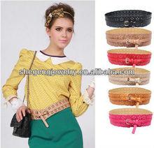 Fashion Women's Hollow Out Wide Waist Belts Adjustable Corset PU Leather Belt