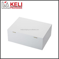 Double open door white color MDF wooden wine gift box