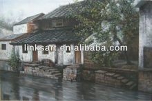 Handmade chinese town scenery oil painting beautiful landscape canvas art