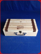 Recyclable Feature and Accept Custom Order double bottles pine wooden wine gift box