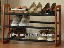 3 tier non-slip wood frame shoe rack