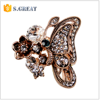 Wholesale fashionable Female Charm Butterfly Alloy rings
