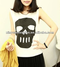 2015 hot sale fashionable Korean summer top fashion girls sleeveless round neck print t shirts